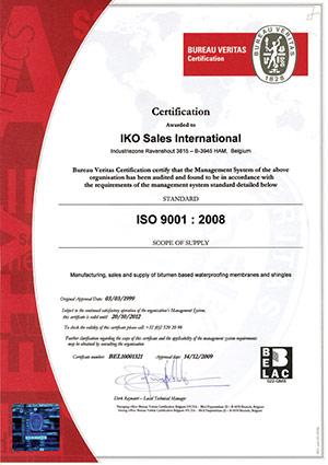 Certificate ISO 9001:2008 IKO