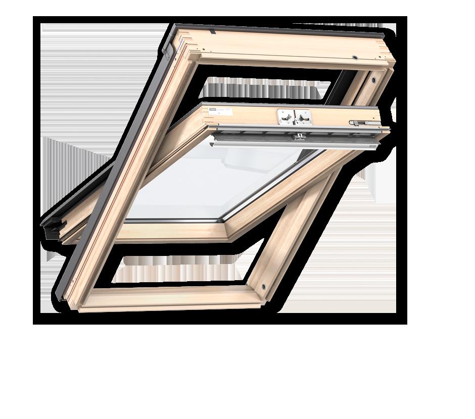 Покривни прозорци от естествена дървесина с горно управление стандарт