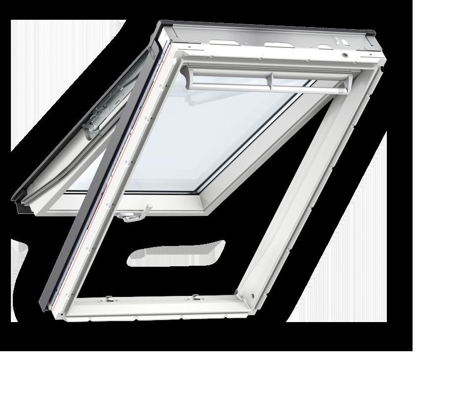 Покривни прозорци от бял полиуретан с двойна ос на отваряне