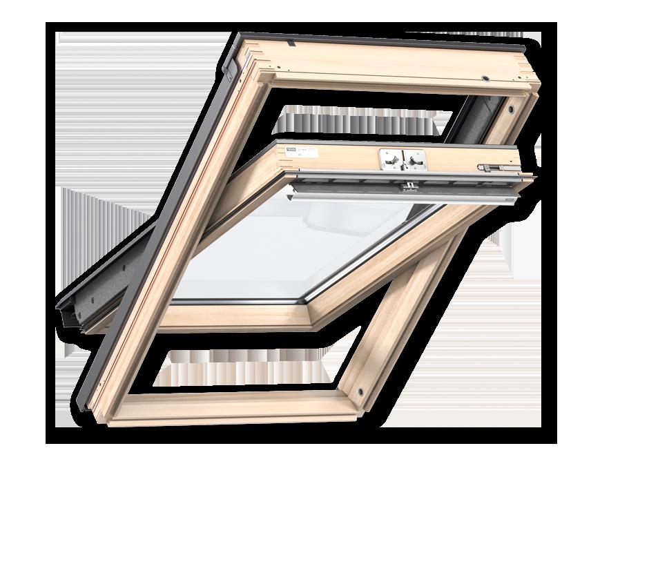 Покривни прозорци от естествена дървесина с горно управление стандарт плюс
