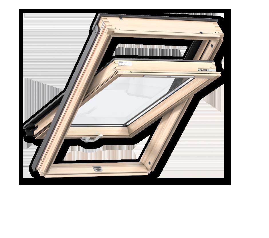 Покривни прозорци от естествена дървесина с долно управление стандарт