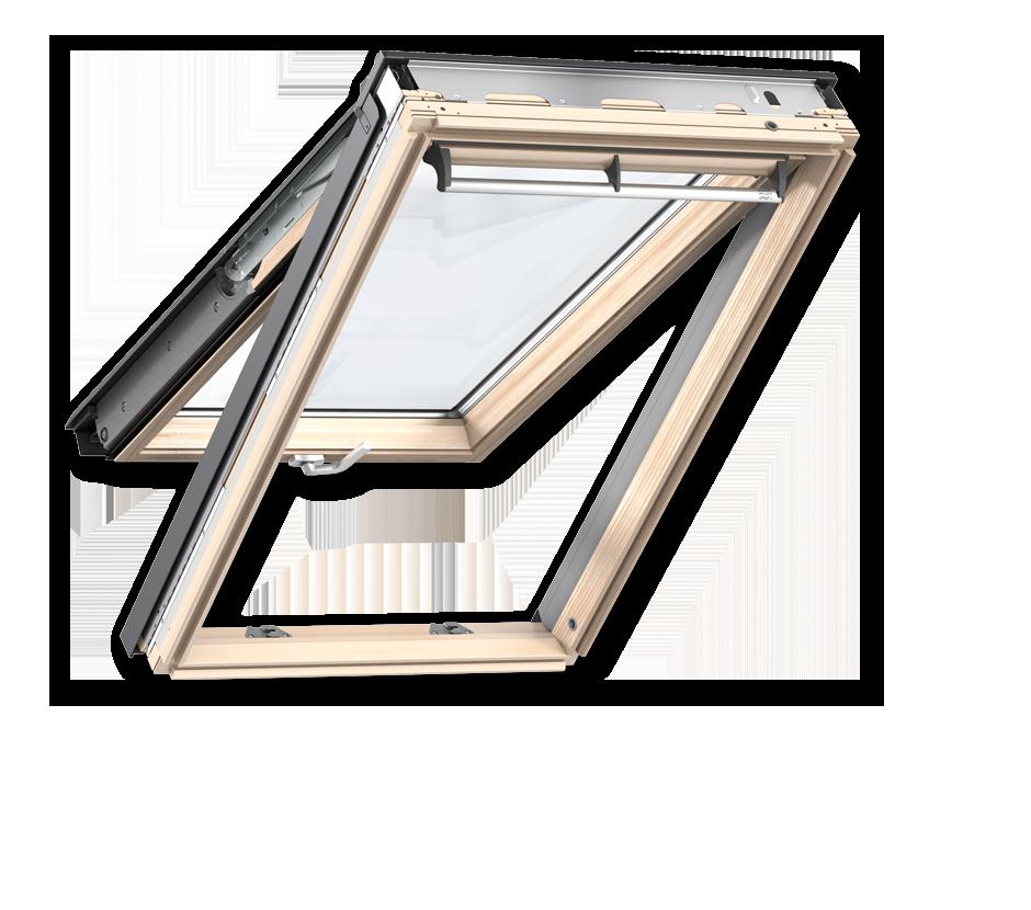 Покривни прозорци от естествена дървесина с двойна ос на отваряне