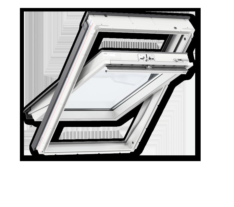 Покривни прозорци от бял полиуретан с горно управление стандарт плюс