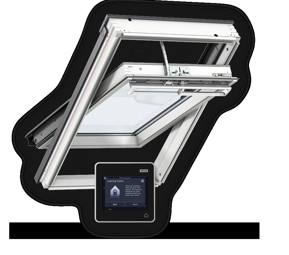 Покривни прозорци от бял полиуретан с дистанционно управление