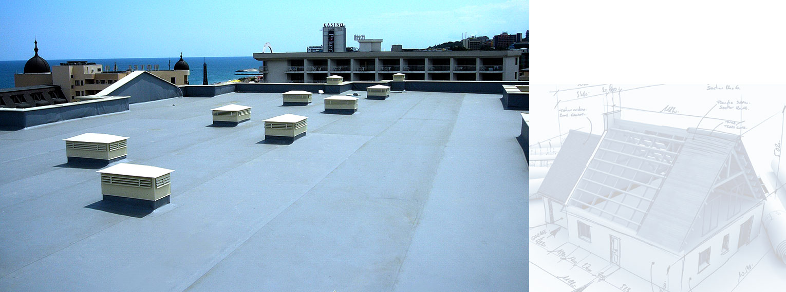 Polymer waterproofing membranes on Apart Hotel Golden Line - Golden Sands