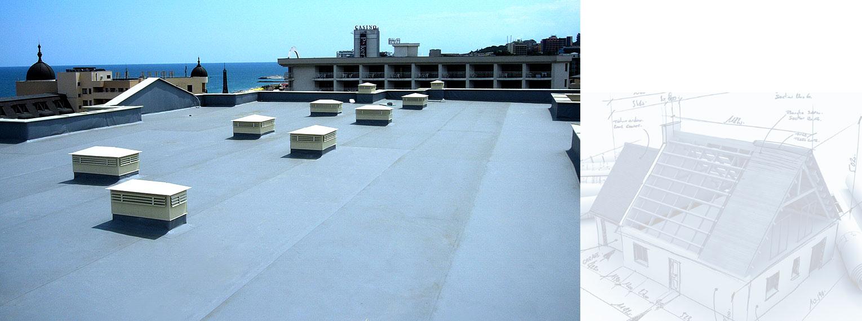 Polymer waterproofing membranes on Apart Hotel Golden Line - Golden Sands